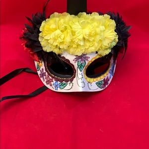 Day of The Dead Mask with Flowers and Feathers
